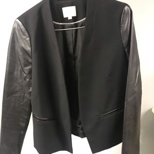 Black LOFT Leather Sleeve Blazer